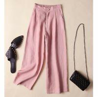 Women 100% Linen Wide Leg Elastic Waist Pants Trousers Loose Casual Straight Leg