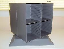 Gray Plastic Rotating CD Tabletop Storage Rack, Holds 80 CDs