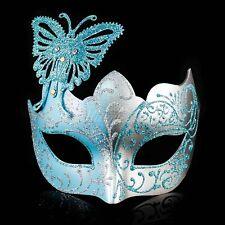 Butterfly Mardi Gras Venetian Masquerade Mask for Women M7106 [Baby Blue/Silver]