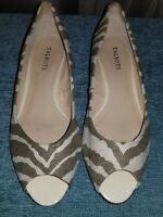 TALBOTS Peep Toe Zebra Print Canvas Slip On Shoes w/ Cork Wedge Heel Sz 9M