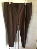 Worthington Work Woman Plus Size 24W Solid Brown Stretch Cuffed Dress Pants