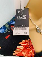 BNWT £60.00 NEXT TAILORED BLACK RED PINK MIX BOLD FLORAL PENCIL DRESS SIZE 10 UK