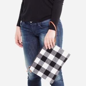 NWT boutique boho zipper closure red black white Buffalo Check crossbody Handbag