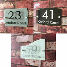 ACRYLIC HOUSE SIGN PLAGUE Door Number Street Glass Effect Name Address plate