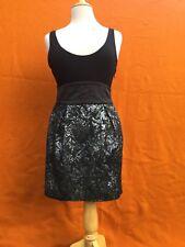 LADAKH black / silver sleeveless party mini dress , size 8-10.