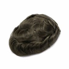 GEX Toupee Mens Hairpiece Mirage Basement Wig Human Remy Hair Replacement System Ash4#