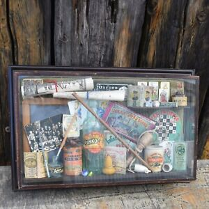 Antique Curiosities Glass Cased Box Frame School Museum Wall Curated Curio