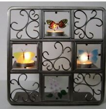 Partylite Tea Light Candle Holder Butterfly's Glass Metal