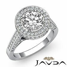 Shiny Round Diamond Engagement Halo Pave Set Ring GIA I VS2 18k White Gold 2.8ct