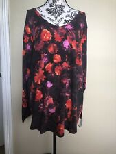 sonoma 2x top Woman Floral Black Long Sleeves V Neck New