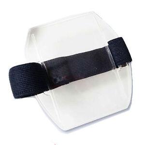 Arm Band Photo ID Badge Holder Vertical w/ Elastic Black/Navy/White Strap