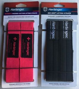 (2) Pairs Harbinger Padded Cotton Weight Lifting Straps HIS/HERS Pink/Black NEW