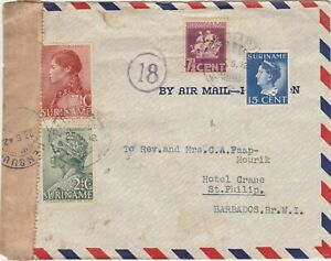 Surinam 1942 censored airmail cover to St. Philip Barbados