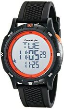NEW Freestyle Unisex 10017007 Navigator Digital Black Watch with Orange Accents