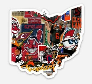 Vinyl MAGNET - Cleveland all in one Browns Indians Cavaliers Cavs Wahoo sports