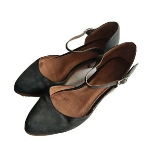 Wittner 'Jacob' Black Leather Pointed Toe Mary Jane Heels Sz 38 Shoes