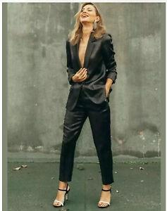 Zara Shiny Jacquard Tuxedo Blazer And Trousers Suit Set Size S/M