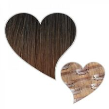 Extension Clip Cheveux véritables SANS COUTURE ombré marron noir noisette 60 cm
