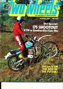 Two Wheels Magazine August 1977 Honda CB750K6 Bombardier Can-Am 250 KTM 175 End