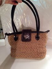 Breitling Straw And Leather Hand Bag Purse EUC
