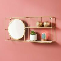 NEW Tromso Metal Wire Multi Section Floating Wall Shelf With Mirror Home Decor