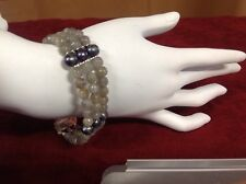 """Natural Labradorite Faceted Bracelet with Freshwater Pearls 8.5"""""""