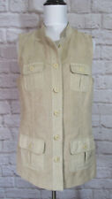 NWOT Chicos Faux Suede Vest 0 Womens Small Light Tan Button Front Lined #7007