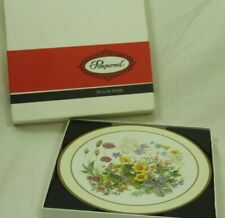 """Pimpernel 10"""" Round Placemats Meadow Flowers Cork Back Set of 6 Original Box"""