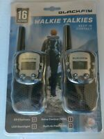Pair of Black Fin Walkie Talkies 2-Way Radios up to 16 mile w/flashlight VOX