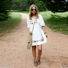 Women Mexican Ethnic Embroidered Pessant Hippie Blouse Gypsy Boho Mini Dress US