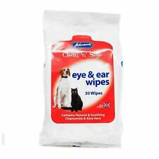 Johnsons Eye Ear Cleansing Wipes for Dog Cat Chamomile Aloe Vera Cleaning 30pck