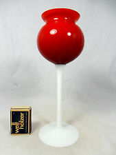 Well shaped red 70´s design Opaline Florentine Murano glass Vase  Italy 22,5 cm