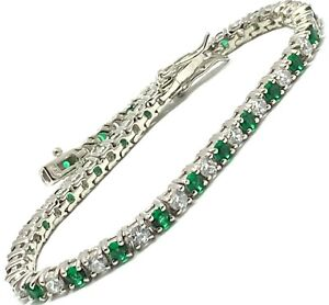 .925 Sterling Silver 3.00ct Emerald, 3.00ct Diamonique Diamond Tennis Bracelet