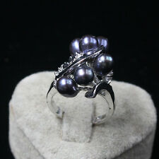 iSTONE Women's WONDERFUL 6-7 mm black natural freshwater pearls ring size 6-9#