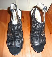 NEW Me Too Black Leather Exposed Toe (Shooties) Perforated Sandals 10M