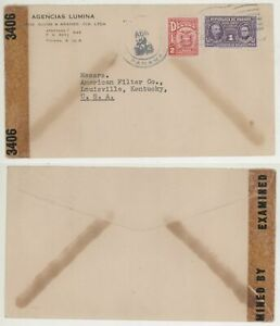 1943 WWII Panama to Louisville KY Censor Cover! Scott 236 & RA10