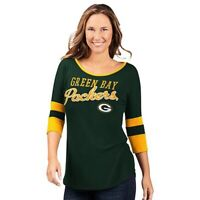 NFL Green Bay Packers Officially Licensed Women's 3/4 Sleeve T-Shirt Green
