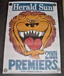 11 x AFL BRISBANE LIONS PREMIERS POSTERS . 2001 WEG  - HERALD SUN  ORIGINAL..New