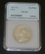 1917-C. One Indian Rupee. GEM Uncirculated. Beautiful Coin.