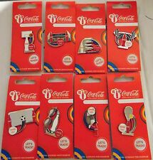 LONDON 2012 OLYMPICS COCA COLA BOTTLE SPORTS EQIPMENT 8 PIN BADGE SET
