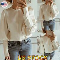 Women Fashion Casual Puff Long Sleeve Round Neck Loose Formal Shirt Blouse Tops