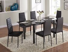 Extending Glass Dining Table Set and with 6 Black Faux Leather Chairs Designer