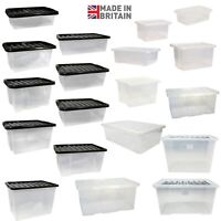 Quality Plastic Storage Boxes With Lids Home Office Stackable Clear Box UK