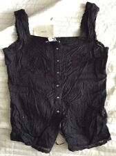 STUNNING NWT ZARA Black Large LACE CAMI STRAPPY TOP Embroidery Festival New