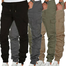 Mens Joggers Drawstring Trousers Elastic Waist Work Cargo Casual Pants Bottoms