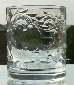 """Beautiful Crystal Engraved 12oz Whisky Glass Very Fine Quality """"Amazing Design"""""""