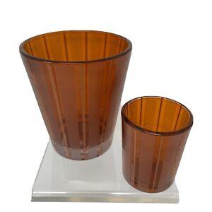 Two Orange Frosted Glass EMPTY NEST Pumpkin Chai Candle Jar Holder Decor Displa