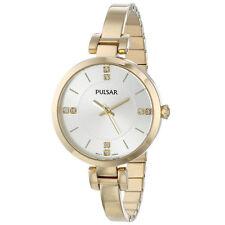 New Pulsar Women's Silver Dial Gold Bracelet Watch PH8034