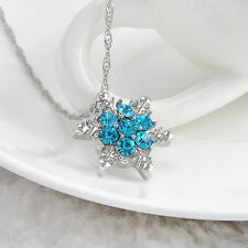 Fashion Women Lady Crystal Snowflake Frozen Flower Silver Necklace Pendant Chain