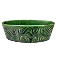 Mid-Century Boho Green Porcleain Atomic Swirl Planter by McCoy